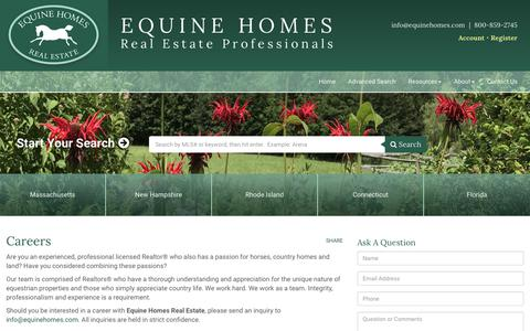 Screenshot of Jobs Page equinehomes.com - Careers - Equine Homes Real Estate, LLC - captured Aug. 11, 2017