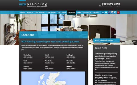 Screenshot of Locations Page mzaplanning.com - MZA Planning locations | MZA Planning | Planning Permission without the Headaches - captured Dec. 20, 2015