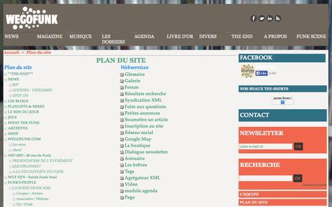 Screenshot of Site Map Page wegofunk.com - Plan du site | Funk, Soul, Jazz, Latin and Afrogrooves magazine - Agenda, soirée, concert, interviews, chroniques, articles, vidéos, mix, dj - captured Oct. 7, 2014