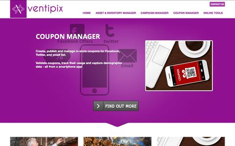 Screenshot of Home Page ventipix.com - Cloud based management applications for business - captured Sept. 1, 2015