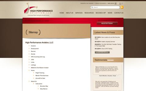 Screenshot of Site Map Page flyhpa.com - Sitemap // High Performance Aviation, LLC - captured Oct. 3, 2014
