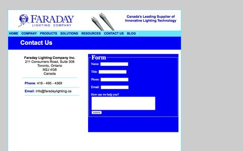 Screenshot of Contact Page faradaylighting.ca - Faraday Lighting Company - captured Oct. 5, 2014
