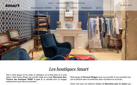 Screenshot of Home Page smart.fr - Boutiques de vêtements de marque homme et femme à Lyon - BOUTIQUES SMART - captured Oct. 6, 2018