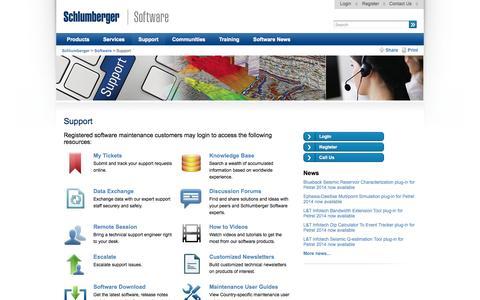 Screenshot of Support Page slb.com - Support - Schlumberger - captured Sept. 18, 2014