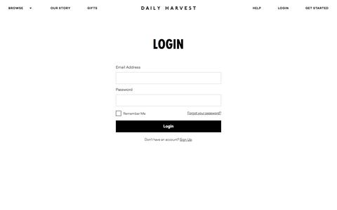 Screenshot of Login Page daily-harvest.com - Log In | Daily Harvest - captured July 19, 2019