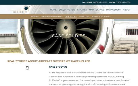 Screenshot of Case Studies Page desertjet.com - Case Studies | Aircraft Owners Experience Desert Jet Management - captured Jan. 7, 2016