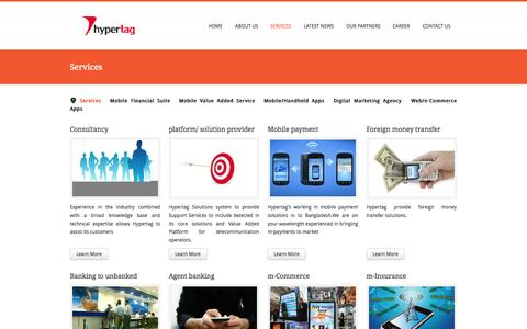 Screenshot of Services Page hypertagsolutions.com - Leading Software & IT Company in Bangladesh, Mobile Financial Services in Bangladesh, Mobile Apps, POS, Mobile SMS, VAS, Digital Marketing in Bangladesh, Web and E-commerce developer in Bangladesh - captured Oct. 3, 2014