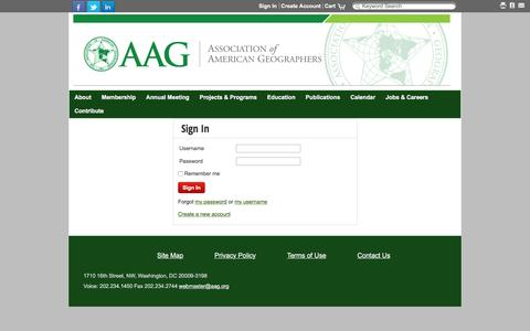 Screenshot of Login Page aag.org - Sign In - captured Jan. 30, 2016