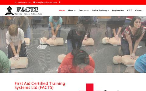Screenshot of Home Page factsfirstaid.com - Home | First Aid Training Systems - FACTS - captured Oct. 2, 2018
