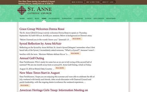 Screenshot of Press Page saint-anne.org - News | St. Anne Catholic Church - captured Oct. 4, 2014