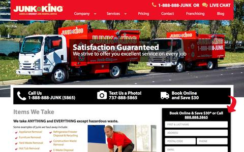 Screenshot of Services Page junk-king.com - Items We Take - Junk Pick Up & Hauling | Junk King - captured Jan. 12, 2017