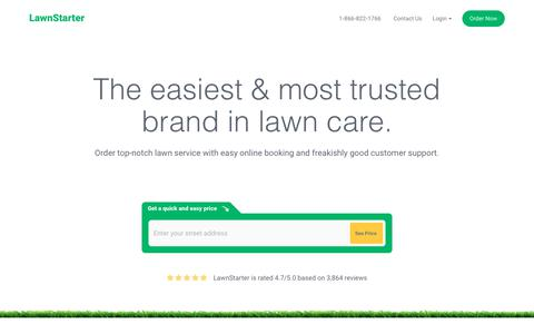 Screenshot of Home Page lawnstarter.com - Book Lawn Mowing Near You | Lawn Service from $19 | LawnStarter - captured March 13, 2018