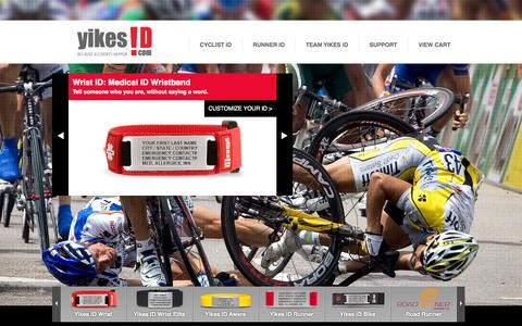 Screenshot of Home Page Site Map Page Login Page yikesid.com - Yikes ID | Medical Alert Bracelets | ID tags for Running & Cycling - captured Oct. 6, 2014
