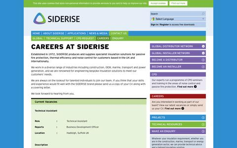Screenshot of Jobs Page siderise.com - Careers | Contact Siderise - captured Oct. 10, 2014