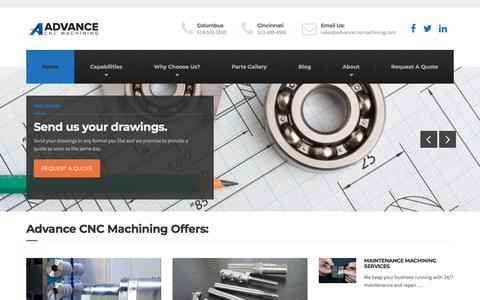 Screenshot of Home Page advancecncmachining.com - CNC Machining | Ohio Machine Shop | Maintenance Machining - captured Jan. 18, 2020