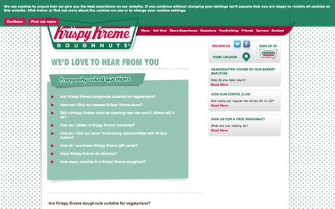 Screenshot of FAQ Page krispykreme.co.uk - WE'D LOVE TO HEAR FROM YOU | Krispy Kreme - captured Nov. 5, 2014