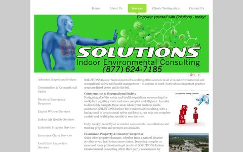 Screenshot of Services Page solutionsiec.com - SOLUTIONS Indoor Environmental Consulting's services - captured Oct. 3, 2014