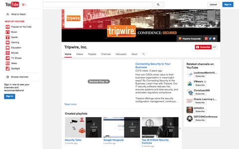 Screenshot of YouTube Page youtube.com - Tripwire, Inc.  - YouTube - captured Nov. 2, 2014