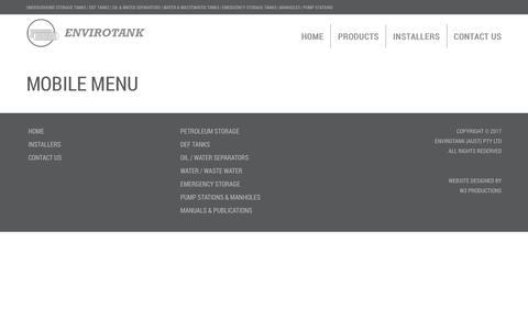 Screenshot of Menu Page envirotank.com.au - Mobile menu - captured Sept. 28, 2018