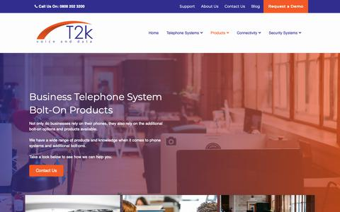 Screenshot of Products Page t2k.co.uk - Products - Call Recording, Call Management & Computer Integration - T2K - captured Oct. 19, 2018