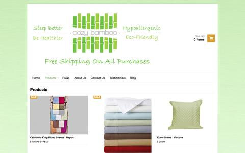 Screenshot of Products Page cozybamboo.com - Products – Cozy Bamboo - captured Sept. 30, 2014
