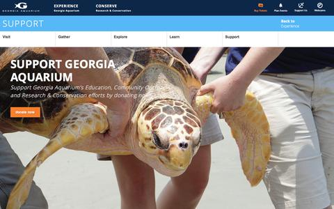 Screenshot of Support Page georgiaaquarium.org - Support - captured Dec. 8, 2015