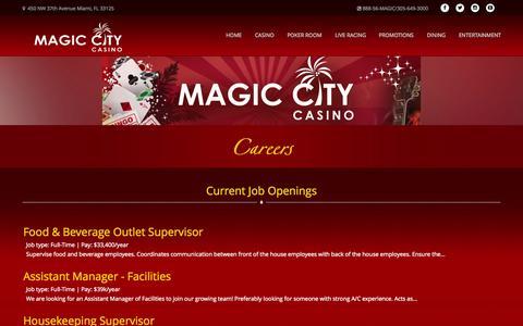 Screenshot of Jobs Page magiccitycasino.com - Magic City Casino - Careers - captured Nov. 18, 2015