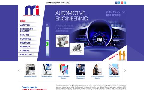 Screenshot of Home Page milan-infotech.com - MILAN INFOTECH PVT. LTD. | Pioneer in Technology, Leader in Services - captured Oct. 7, 2014