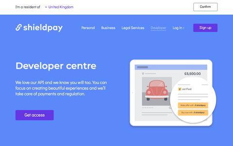 Screenshot of Developers Page shieldpay.com - Shieldpay  |  Developer centre - captured Sept. 18, 2019