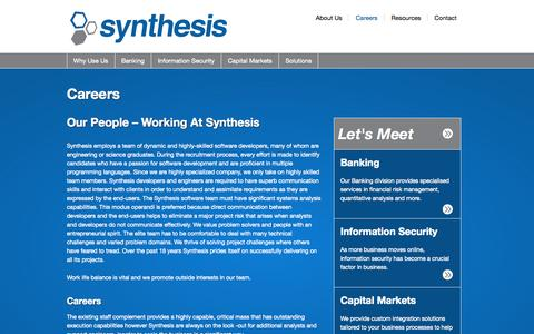 Screenshot of Jobs Page synthesis.co.za - Careers - Synthesis - captured Oct. 7, 2014