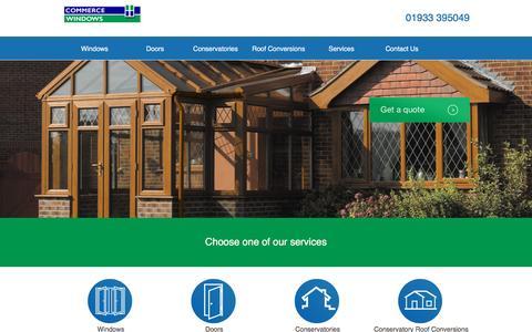 Screenshot of Home Page commercewindows.co.uk - Commerce Windows - UPVC Windows   Doors   Conservatories   Roof Conversions - captured Nov. 10, 2016