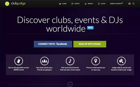 Screenshot of Home Page clubjudge.com - Club Judge - captured Sept. 19, 2014