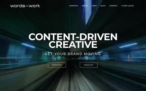 Screenshot of Home Page wordsatwork.com - Home - Words At Work - captured Sept. 20, 2018