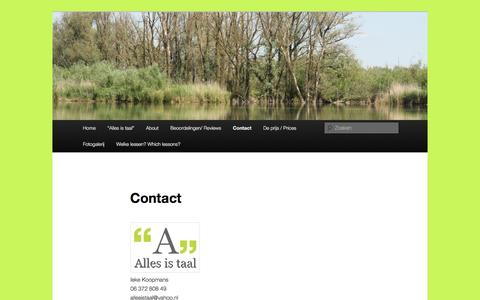 Screenshot of Contact Page allesistaal.nl - Contact | Alles is taal - captured July 25, 2016