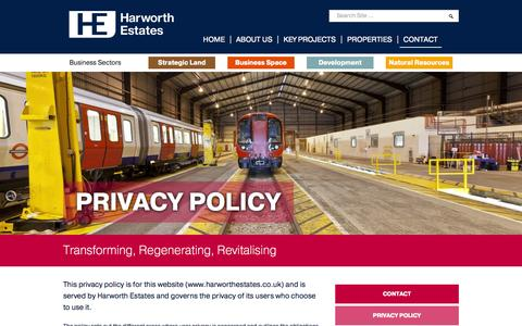 Screenshot of Privacy Page harworthestates.co.uk - Harworth Estates | Transforming, Regenerating, Revitalising - captured Sept. 29, 2014