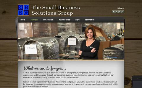 Screenshot of Services Page weebly.com - What can a small business consultant do for my business ? - The Small Business Solutions Group - captured Oct. 26, 2014