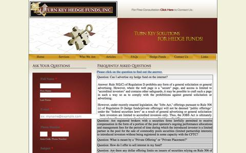 Screenshot of FAQ Page turnkeyhedgefunds.com - Starting a Forex Fund, How to start a Forex Hedge Fund, Set up a Forex Hedge Fund, Forex Fund Start up - captured Sept. 30, 2014