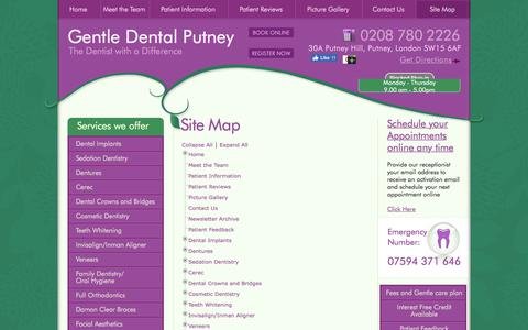 Screenshot of Site Map Page gentledentalputney.co.uk - Comprehensive Dentist Putney: Drop yourself at our practice to experience a range of dental services. - captured July 17, 2018
