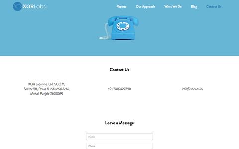 Screenshot of Contact Page xorlabs.in - Contact - XOR Labs - captured Aug. 11, 2016