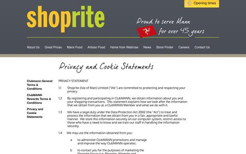 Screenshot of Privacy Page manxshoprite.com - Privacy and Cookie Statements » Shoprite - captured May 26, 2017