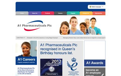 Screenshot of Home Page a1plc.co.uk - A1 Pharmaceuticals Plc | Passionate about Healthcare - captured Oct. 4, 2014