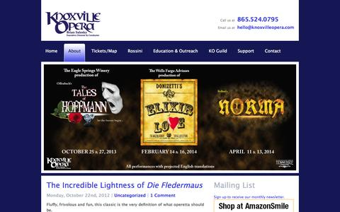 Screenshot of Blog knoxvilleopera.com - Blog | Knoxville Opera - captured Sept. 26, 2014
