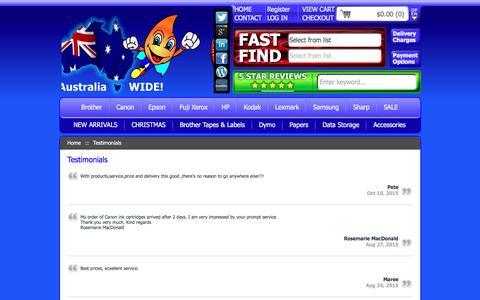 Screenshot of Testimonials Page inkjetonline.com.au - Testimonials :: Printer... - captured Dec. 5, 2015