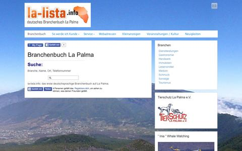 Screenshot of Home Page la-lista.info - deutsches Branchenbuch La Palma: la-lista.info - captured June 7, 2016