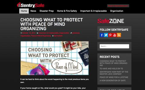 Screenshot of Blog sentrysafe.com - | Sentry Safe | Safe Zone - captured Oct. 27, 2014