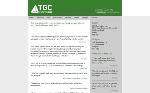 Screenshot of Testimonials Page tgcrenewables.com - The best people to comment on our work are our clients and those who we work with... | TGC Renewables - captured Oct. 26, 2014