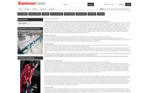 Screenshot of Terms Page kustom-gear.com - Kustom Gear Terms and Conditions - captured Oct. 27, 2014