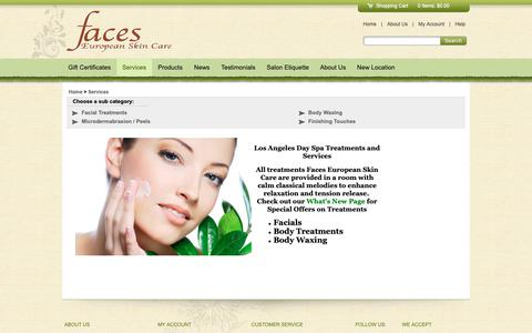 Screenshot of Services Page facesesc.com - FacesESC , Los Angeles - captured Oct. 10, 2018