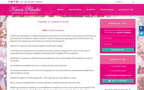 Screenshot of Terms Page karenrhodes.co.uk - Terms & Conditions - Karen Rhodes Weddings & Events - captured Feb. 12, 2016