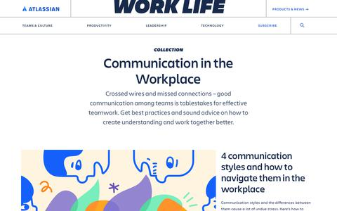Screenshot of Blog atlassian.com - Communication in the Workplace Archives - Work Life by Atlassian - captured Feb. 8, 2020